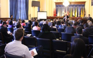 President CCHR U.S., Bruce Wiseman, addresses the audience during the screening of The Hidden Enemy on May 6th.