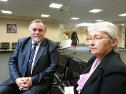 Senior Consul of Russia, Vycheslav Uvarov, in San Francisco in the court in Sacramento, with Honorary Consul of Russia, Natalia Owen.